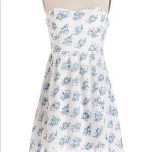 Blue floral strapless sun dress